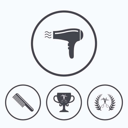 hairstyling: Hairdresser icons. Scissors cut hair symbol. Comb hair with hairdryer symbol. Barbershop laurel wreath winner award. Icons in circles.