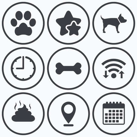 feces: Clock, wifi and stars icons. Pets icons. Dog paw and feces signs. Clean up after pets. Pets food. Calendar symbol. Illustration