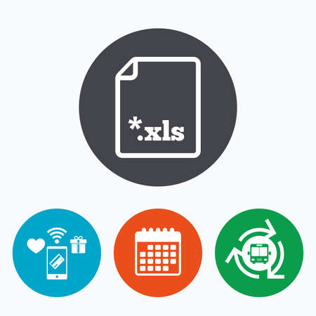 xls: Excel file document icon. Download xls button. XLS file extension symbol. Mobile payments, calendar and wifi icons. Bus shuttle. Illustration