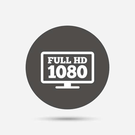 widescreen: Full hd widescreen tv sign icon. 1080p symbol. Gray circle button with icon. Vector