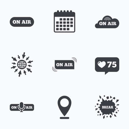 live on air: Calendar, like counter and go to web icons. On air icons. Live stream signs. Microphone symbol. Location pointer.