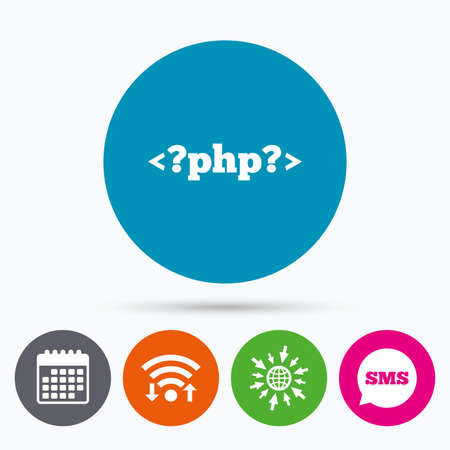 php: Wifi, Sms and calendar icons. PHP sign icon. Programming language symbol. Go to web globe. Illustration