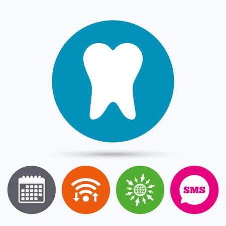 comunicacion oral: Wifi, SMS y calendario iconos. icono de la muestra del diente. s�mbolo de la atenci�n dental. Ir a la Web del globo.