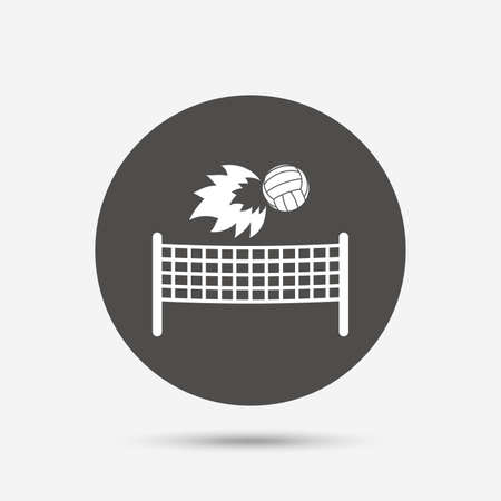 volleyball net: Volleyball net with fireball sign icon. Beach sport symbol. Gray circle button with icon. Vector