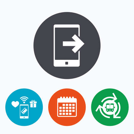 outcoming: Outcoming call sign icon. Smartphone symbol. Mobile payments, calendar and wifi icons. Bus shuttle.