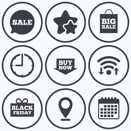 big timer: Clock, wifi and stars icons. Sale speech bubble icons. Buy now arrow symbols. Black friday gift box signs. Big sale shopping bag. Calendar symbol.