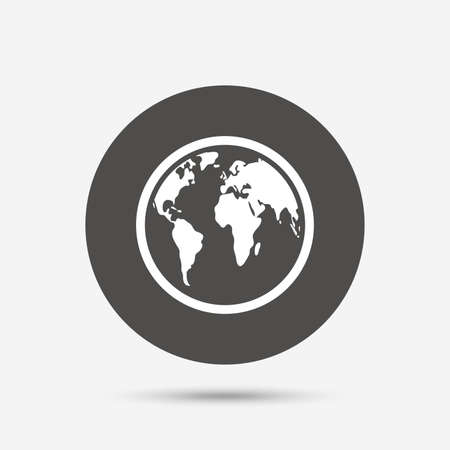 geography: Globe sign icon. World map geography symbol. Gray circle button with icon. Vector