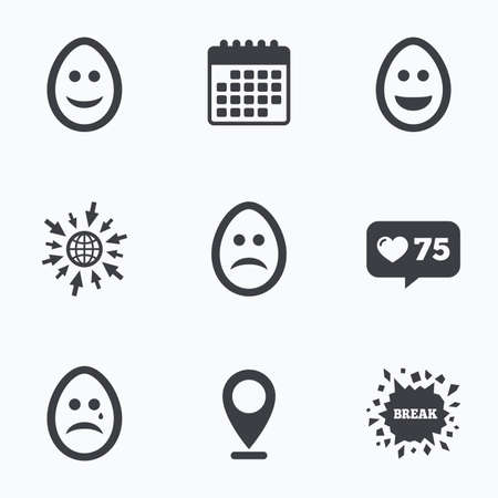 pasch: Calendar, like counter and go to web icons. Eggs happy and sad faces icons. Crying smiley with tear symbols. Tradition Easter Pasch signs. Location pointer.
