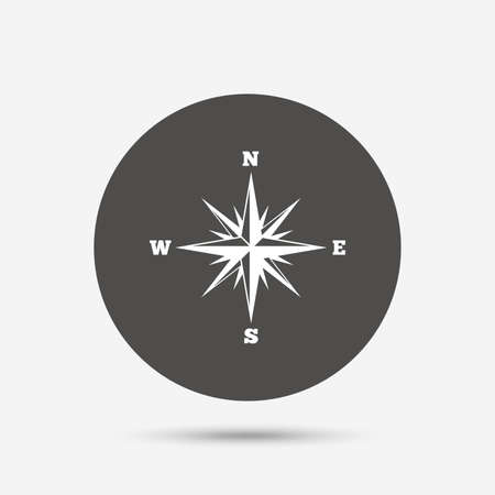 windrose: Compass sign icon. Windrose navigation symbol. Gray circle button with icon. Vector Illustration