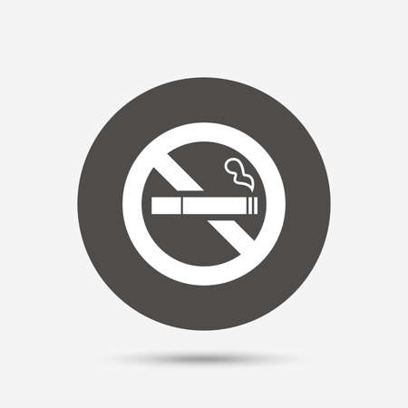quit: No Smoking sign icon. Quit smoking. Cigarette symbol. Gray circle button with icon. Vector Illustration