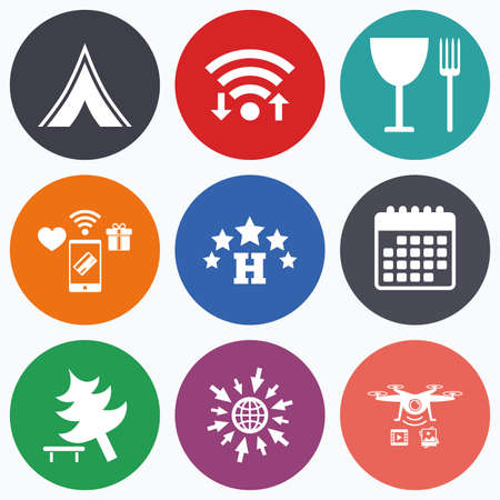 break down: Wifi, mobile payments and drones icons. Food, hotel, camping tent and tree icons. Wineglass and fork. Break down tree. Road signs. Calendar symbol. Illustration