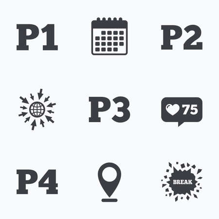 second floor: Calendar, like counter and go to web icons. Car parking icons. First, second, third and four floor signs. P1, P2, P3 and P4 symbols. Location pointer.