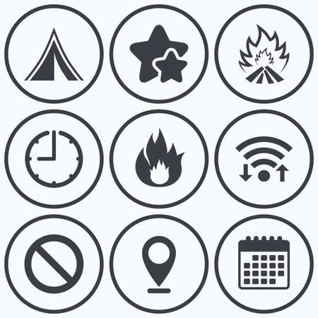 fire symbol: Clock, wifi and stars icons. Tourist camping tent icon. Fire flame and stop prohibition sign symbols. Calendar symbol. Illustration
