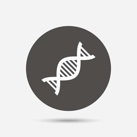 deoxyribonucleic: DNA sign icon. Deoxyribonucleic acid symbol. Gray circle button with icon. Vector