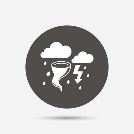 hurricane weather: Storm bad weather sign icon. Clouds with thunderstorm. Gale hurricane symbol. Destruction and disaster from wind. Insurance symbol. Gray circle button with icon. Vector Illustration