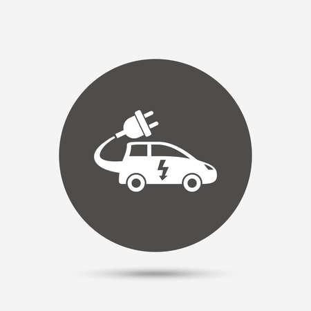 hatchback: Electric car sign icon. Hatchback symbol. Electric vehicle transport. Gray circle button with icon. Vector
