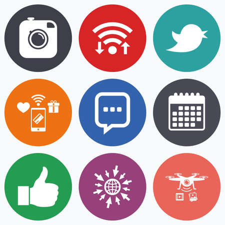 chat up: Wifi, mobile payments and drones icons. Hipster photo camera icon. Like and Chat speech bubble sign. Hand thumb up. Bird symbol. Calendar symbol. Illustration