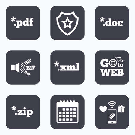 zipped: Mobile payments, wifi and calendar icons. Document icons. File extensions symbols. PDF, ZIP zipped, XML and DOC signs. Go to web symbol.