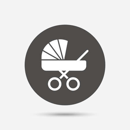 buggy: Baby pram stroller sign icon. Baby buggy. Baby carriage symbol. Gray circle button with icon. Vector Illustration