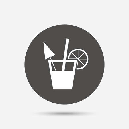 alcoholic drink: Cocktail sign. Alcoholic drink symbol. Gray circle button with icon. Vector