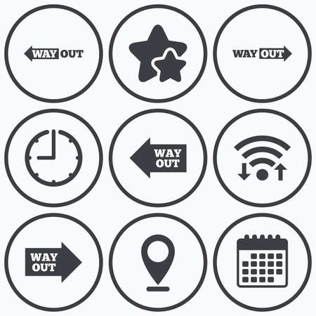 way out: Clock, wifi and stars icons. Way out icons. Left and right arrows symbols. Direction signs in the subway. Calendar symbol. Illustration