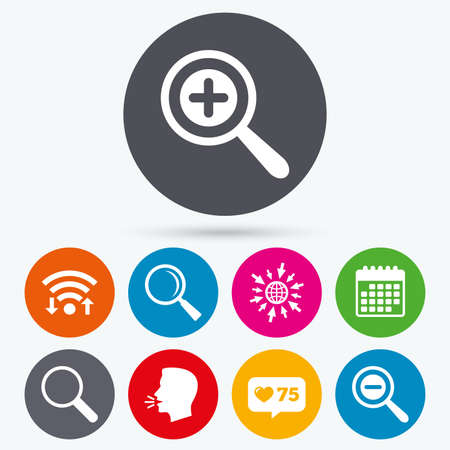 convex shape: Wifi, like counter and calendar icons. Magnifier glass icons. Plus and minus zoom tool symbols. Search information signs. Human talk, go to web. Illustration