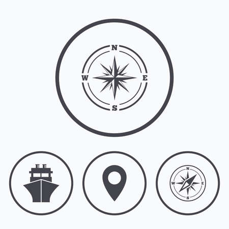 windrose: Windrose navigation compass icons. Shipping delivery sign. Location map pointer symbol. Icons in circles.