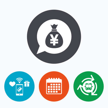jpy: Money bag sign icon. Yen JPY currency speech bubble symbol. Mobile payments, calendar and wifi icons. Bus shuttle.