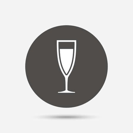 champagne celebration: Glass of champagne sign icon. Sparkling wine. Celebration or banquet alcohol drink symbol. Gray circle button with icon. Vector