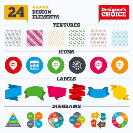 reductions: Banner tags, stickers and chart graph. Sale pointer tag icons. Discount special offer symbols. 30%, 50%, 70% and 90% percent sale signs. Linear patterns and textures.