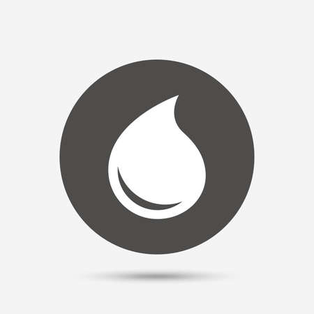 tear drop: Water drop sign icon. Tear symbol. Gray circle button with icon. Vector