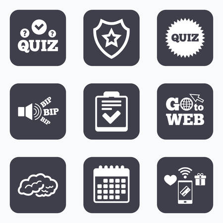 poll: Mobile payments, wifi and calendar icons. Quiz icons. Human brain think. Checklist symbol. Survey poll or questionnaire feedback form. Questions and answers game sign. Go to web symbol. Illustration