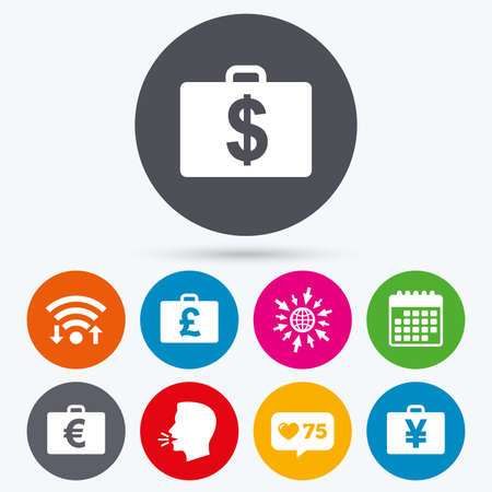 diplomat: Wifi, like counter and calendar icons. Businessman case icons. Cash money diplomat signs. Dollar, euro and pound symbols. Human talk, go to web. Illustration