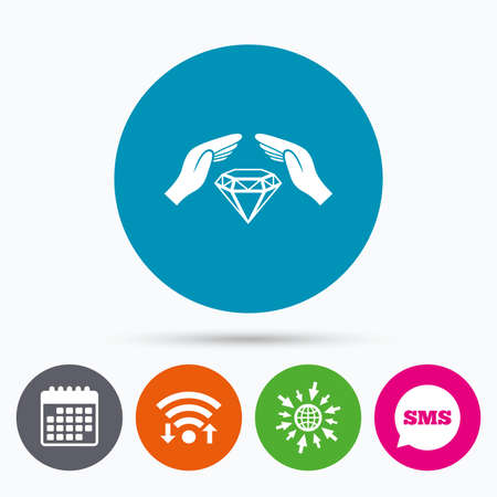brilliants: Wifi, Sms and calendar icons. Jewelry insurance sign icon. Hands protect cover diamonds symbol. Brilliants insurance. Go to web globe.