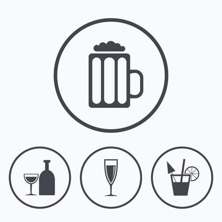 alcoholic drinks: Alcoholic drinks icons. Champagne sparkling wine and beer symbols. Wine glass and cocktail signs. Icons in circles.