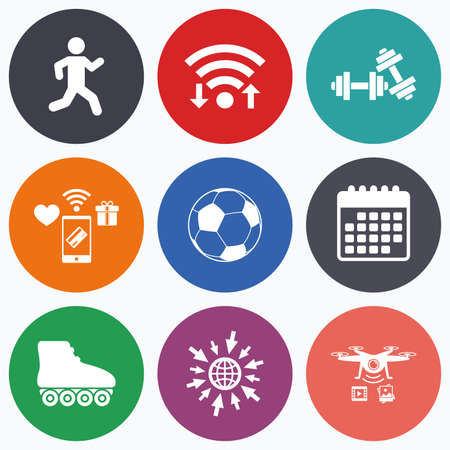 rollerblades: Wifi, mobile payments and drones icons. Football ball, Roller skates, Running icons. Fitness sport symbols. Gym workout equipment. Calendar symbol.
