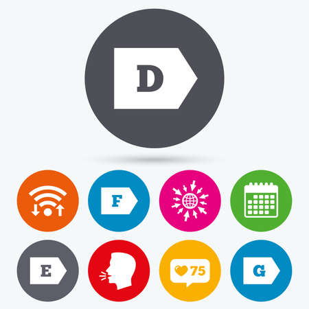 d mark: Wifi, like counter and calendar icons. Energy efficiency class icons. Energy consumption sign symbols. Class D, E, F and G. Human talk, go to web.