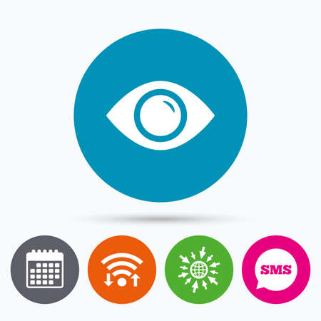 publish: Wifi, Sms and calendar icons. Eye sign icon. Publish content button. Visibility. Go to web globe. Illustration