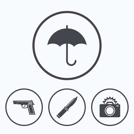 edged: Gun weapon icon.Knife, umbrella and photo camera with flash signs. Edged hunting equipment. Prohibition objects. Icons in circles.