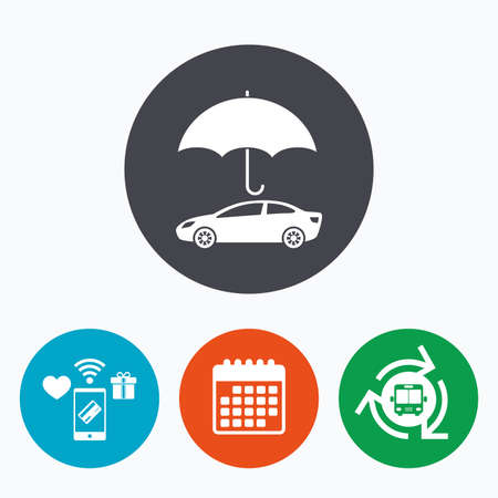gift accident: Car insurance sign icon. Protection symbol. Mobile payments, calendar and wifi icons. Bus shuttle.