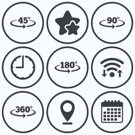 Clock, wifi and stars icons. Angle 45-360 degrees icons. Geometry math signs symbols. Full complete rotation arrow. Calendar symbol.