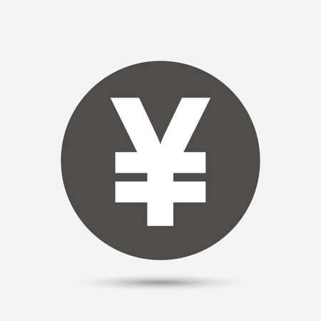 yen sign: Yen sign icon. JPY currency symbol. Money label. Gray circle button with icon. Vector