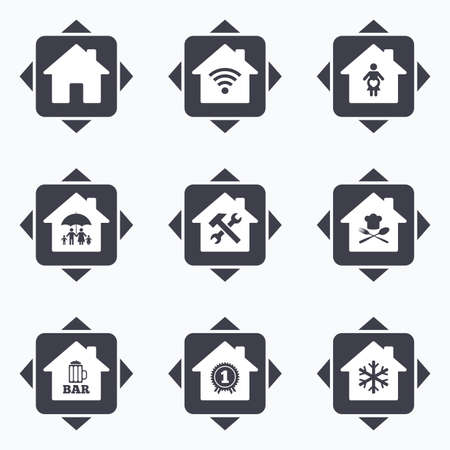air hammer: Icons with direction arrows. Real estate icons. Home insurance, maternity hospital and wifi internet signs. Restaurant, service and air conditioning symbols. Square buttons. Illustration
