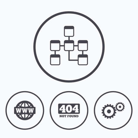 page not found: Website database icon. Internet globe and gear signs. 404 page not found symbol. Under construction. Icons in circles.