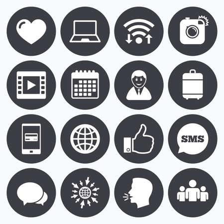 Wifi, calendar and mobile payments. Social media icons. Video, share and chat signs. Human, photo camera and like symbols. Sms speech bubble, go to web symbols.