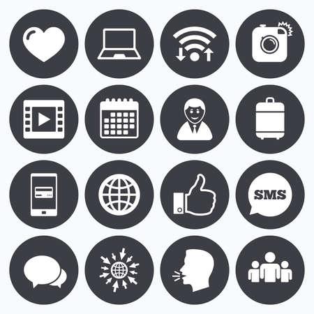 Wi-Fi, 캘린더 및 모바일 결제. 소셜 미디어 아이콘. 비디오, 공유 및 채팅 신호. 인간, 사진 카메라와 같은 기호. SMS 연설 거품, 웹 기호로 이동하십시오.