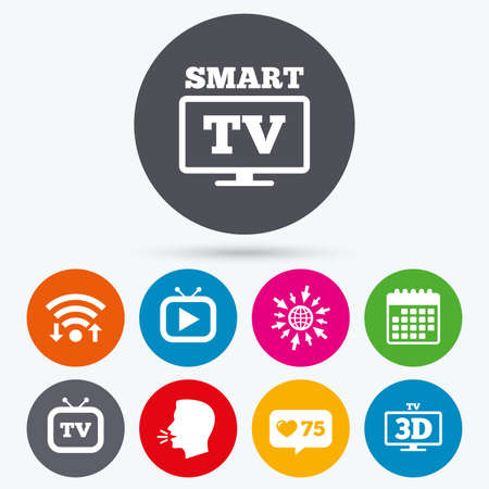3d mode: Wifi, like counter and calendar icons. Smart 3D TV mode icon. Widescreen symbol. Retro television and TV table signs. Human talk, go to web.