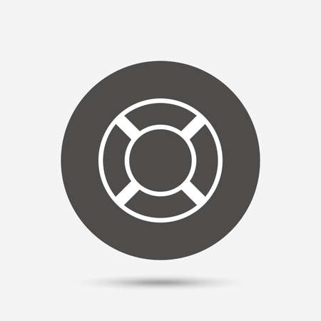 salvation: Lifebuoy sign icon. Life salvation symbol. Gray circle button with icon. Vector