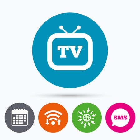 television set: Wifi, Sms and calendar icons. Retro TV sign icon. Television set symbol. Go to web globe.