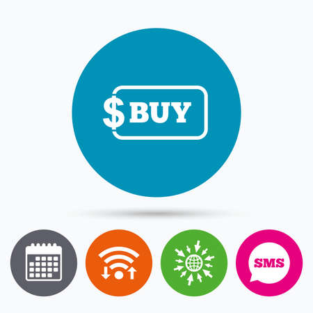 usd: Wifi, Sms and calendar icons. Buy sign icon. Online buying dollar usd button. Go to web globe. Illustration